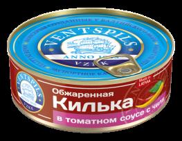 Обжаренная килька в томатном соусе+чили   Нетто: 240гр