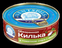 Обжаренная килька в томатном соусе+овощи   Нетто: 240гр