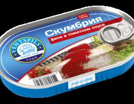 Skumbrijas filejas tomātu mērcē   Netto: 170g (Hanza)