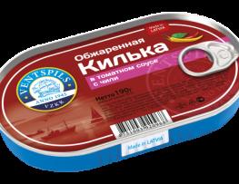 Apceptas brētliņas tomātu mērcē+čili   Netto: 190g (Hanza)