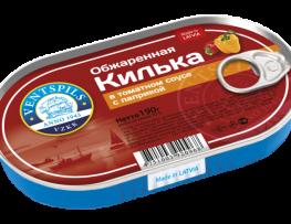 Apceptas brētliņas tomātu mērcē+paprika   Netto: 190g (Hanza)